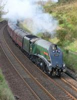 60009 <I>Union of South Africa</I> with the Inverness - Aberdeen - Edinburgh leg of the <I>Great Britain VII</I> tour on 3 May, climbing towards Lochmuir summit between Falkland Road and Markinch.<br> <br><br>[Bill Roberton&nbsp;03/05/2014]