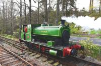 Andrew Barclay 0-6-0 saddle tank <I>Salmon</I> returns to shed on 3 May 2014 after hauling its first revenue earning trains on The Royal Deeside Railway at Milton of Crathes. [See image 46748]<br><br>[John Gray&nbsp;03/05/2014]