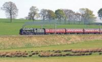 <I>Scots Guardsman</I> gets to grips with the GB VII railtour as it pulls away from the water stop at Lockerbie on 29 April 2014. The photograph was taken between Nethercleugh and Dinwoodie<br><br>[John McIntyre&nbsp;29/04/2014]