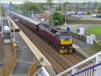 47854 <I>Diamond Jubilee</I> with the Edinburgh - Boat of Garten <I>Royal Scotsman</I> passing Rosyth on 5 May.  The new access ramps are now in service at the station and the temporary footbridge has been removed. [See image 46017]<br><br>[Bill Roberton&nbsp;05/05/2014]