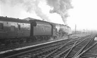 Stanier Coronation Pacific no 46245 <I>City of London</I> takes the 9.56 am ex-Glasgow Central south out of Carlisle on a wintry 22 December 1962, heading for Euston.<br><br>[K A Gray&nbsp;22/12/1962]