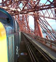 Crossing the Forth Bridge with the <I>Deltic Aberdonian</I> on 12 April 2014. Locomotive is Deltic 55002 <I>The King's Own Yorkshire Light Infantry</I>.<br><br>[Colin Alexander&nbsp;12/04/2014]