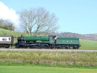 GWR 6960 <I>Raveningham Hall</I> departing Williton tender first on 13 April with a train on the West Somerset Railway.<br><br>[Peter Todd&nbsp;13/04/2014]