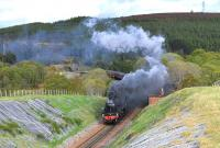 Smoke a plenty as Black Fives Nos. 44871 and 45407 get ready to tackle the climb to Slochd Summit with <I>The Cathedrals Explorer</I> on the way to Inverness on 10 May. <br><br>[John Gray&nbsp;10/05/2014]