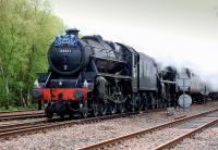 Black 5s 44871+45407 pass Thornton North Junction with <I>The Cathedrals Express</I> for Inverness on 10 May 2014. [See image 47278]<br><br>[Bill Roberton&nbsp;10/05/2014]