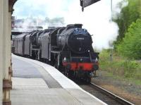 <I>The Cathedrals Explorer</I> arriving at Perth on 10 May behind Black 5s 44871+45407. <br><br>[John Robin&nbsp;10/05/2014]
