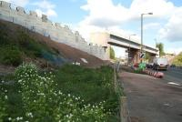 Work in progress on the embankment south of the rail bridge over Hardengreen roundabout on 13 May.<br><br>[John Furnevel&nbsp;13/05/2014]
