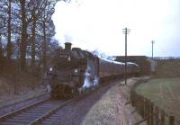 80118 passes below Thornton Road Bridge on 5 April 1966 with the 5.33pm St Enoch - East Kilbride.<br><br>[G W Robin&nbsp;05/04/2014]