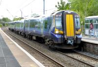 An all-stations Ayr - Glasgow Central train calls at Lochwinnoch on 14 May 2014.<br><br>[Colin Miller&nbsp;14/05/2014]