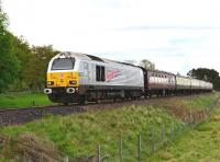 67026 <I>Diamond Jubilee</I> with a lightweight southbound railtour from Inverness to Coatbridge Central on 10 May pictured north of Kingussie.<br><br>[John Gray&nbsp;10/05/2014]