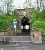 The leafy entrance to Cathcart station from Delvin Road on a pleasant May morning in 2007.<br><br>[John Furnevel&nbsp;06/05/2007]