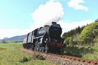 Black five No.44871 on its way to Brora on 12 May with the empty stock of <I>The Cathedrals Explorer</I> to run round ready for the return journey to Inverness. In the background on the left stands Dunrobin Castle.<br><br>[John Gray&nbsp;12/05/2014]