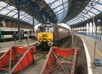 It's not every day you find a diesel locomotive in Brighton station, but on 10 May 2014 WCRC 57315 has arrived with a railtour from Carnforth. On the other end was 47786, which took the tour on to Eastbourne.<br><br>[John McIntyre&nbsp;10/05/2014]