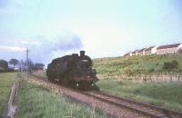 Standard class 4 2-6-4 tanks 80046+80060 between East Kilbride and Hairmyres on 3 June 1965 returning light engine to Glasgow. <br><br>[G W Robin&nbsp;03/06/1965]