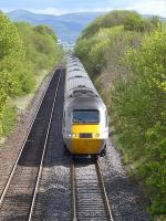 Power car 43295 leads the 10.00 East Coast HST from Kings Cross to Aberdeen uphill towards Dalmeny Junction on 11 May 2014.<br><br>[Bill Roberton&nbsp;11/05/2014]
