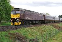 WCRC 47854 <I>Diamond Jubilee</I> southbound from Aviemore on 10 May with <I>The Royal Scotsman</I>.<br><br>[John Gray&nbsp;10/05/2014]