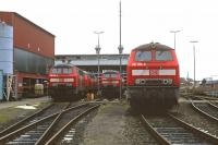 Locomotives on shed at Lubeck on 26th November 2005 included (from left to right) 218 378, 218 413, 218 175 and 218 365. With contracts for regional trains being lost by DB, and the Hamburg to L�beck line being electrified in 2008, the number of locos required here slumped and the depot eventually closed in 2010. <br><br>[Bill Jamieson&nbsp;26/11/2005]