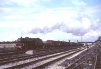 Black 5 44839 takes a lengthy freight south past Kingmoor shed in October 1966.<br><br>[G W Robin&nbsp;08/10/1966]