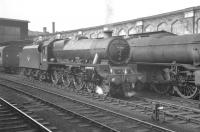 Smartly turned out Holbeck Jubilee 4-6-0 no 45562 <I>Alberta</I> waiting to take over the Carlisle - Leeds leg of the Summer Saturday 1.57pm Gourock - Birmingham New Street on 3 August 1963.<br><br>[K A Gray&nbsp;03/08/1963]