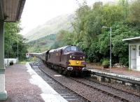 The <I>Royal Scotsman</I> enters Glenfinnan station from the west on 25 September 2005 behind WCRC 37197 <I>Loch Laidon</I>.<br><br>[John Furnevel&nbsp;25/09/2005]