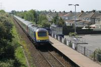 FGW 43020 accelerates through Weston Milton halt with the 1450 Weston-super-Mare to Paddington on 18 May. At this point the train is still on the single track Weston loop but will join the main line at Worle Junction. <br><br>[Mark Bartlett&nbsp;18/05/2014]