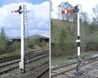 Signals at Hellifield, April 2014. Left: Vewed in close-up, it can be seen that Hellifield signal HD52 applies to the down loop and not the down main, as might be thought when seen from a distance. Right: Forty years ago, a starting signal like this on the up side would hardly have warranted a second glance. Thankfully it has not been spoiled by clumsy modern alterations.<br><br>[Bill Jamieson&nbsp;14/04/2014]