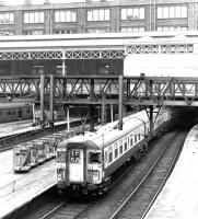 An early afternoon Clacton line service preparing to leave Liverpool Street on 25 April 1972. <I>Clacton Express</I> EMU 309621, built at York in 1962 (originally as class AM9) still has its distinctive wrap-around cab windows at this time.<br><br>[John Furnevel&nbsp;25/04/1972]