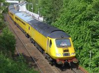 The Network Rail New Measurement Train heads south through Inverkeithing on its way to Craigentinny on 27 May.<br><br>[Bill Roberton&nbsp;27/05/2014]