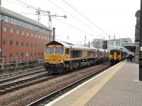 GBRf 66742 passing Newcastle Central with a coal train on 21 May 2014.<br><br>[Peter Todd&nbsp;21/05/2014]