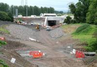 The 'tunnel' that will take the Borders Railway under the Edinburgh city by-pass, seen here on 2 June 2014. Work on restoring the original A720 road route is currently underway. [See image 43042]<br><br>[John Furnevel&nbsp;02/06/2014]