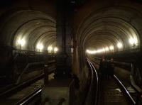 View south from Wapping station through the Thames Tunnel on 26 May 2014.<br><br>[John Thorn&nbsp;26/05/2014]