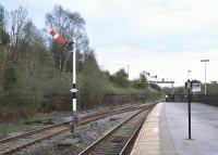 View showing how close the up starter is to the gantry at Hellifield South Junction. The signals are cleared for the 16:18 Carlisle - Leeds on 24th April 2014.<br><br>[Bill Jamieson&nbsp;24/04/2014]