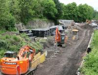 The Borders Railway construction site at Glenesk on 2 June looking north towards Glenesk Junction and the Viaduct.<br><br>[John Furnevel&nbsp;02/06/2014]
