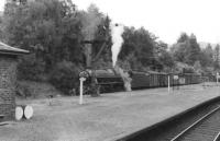 A Black 5 stands at the head of a freight in the former Crieff branch platform at Balquhidder in 1961. [See image 16392]<br><br>[David Stewart&nbsp;09/09/1961]