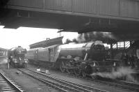 4472 <I>Flying Scotsman</I> at York station on 2 May 1964 with the <I>London - North Eastern Flyer</I>, organised by The Gresley Society, on its way from Kings Cross to Darlington. Standing on the centre road is 60051 <I>Blink Bonny</I> which had arrived earlier with the RCTS <I>North Eastern Limited</I> from Newcastle.<br><br>[K A Gray&nbsp;02/05/1964]