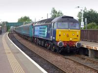 DRS 47853 passes Glenrothes with Thornton on 7 June with the late-running Compass Tours <I>Highland Clansman</I> from Middlesbrough to Aviemore, which was curtailed at Perth.  47501 was on the rear of the train.<br><br>[Bill Roberton&nbsp;07/06/2014]