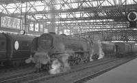 Standing on the centre road at Carlisle on 7 September 1963 is 46236 <I>City of Bradford</I>. The Pacific is awaiting the arrival of the 10.10 Euston - Perth, which it will take forward.<br><br>[K A Gray&nbsp;07/09/1963]