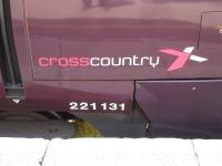 The crosscountry logo and the repositioned unit number, following fitting of new design front end valances, on a Voyager at Exeter St David station on 4 June 2014.<br><br>[David Pesterfield&nbsp;04/06/2014]