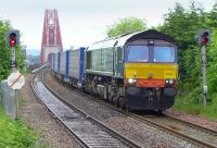 DRS 66301 with the 4D47 Inverness - Mossend Intermodal, diverted through Fife due to engineering work in the Larbert area, seen approaching Dalmeny on 1 June 2014. <br><br>[Bill Roberton&nbsp;01/06/2014]