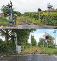 The Hamworthy Goods branch to Poole Harbour has been unused for a number of years but everything remains in situ hoping for new sources of freight traffic. This is Hamworthy Park crossing, the upper view looking back towards the main line at Hamworthy station and the lower image towards Poole Harbour. <br><br>[Mark Bartlett&nbsp;22/05/2014]