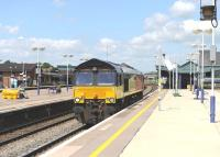 Colas Rail 66850 runs east light engine through Didcot station on 12 June 2014.<br><br>[Peter Todd 12/06/2014]