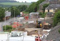 Approaching Galashiels station on 9 June 2014. View north along Low Buckholmside from above Ladhope Tunnel.<br><br>[John Furnevel&nbsp;09/06/2014]