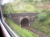 The east portal of the up line single bore Patchway tunnel as seen from a westbound First Great Western HST in early June 2014, showing the difference in track level compared with the down line.<br><br>[David Pesterfield&nbsp;04/06/2014]