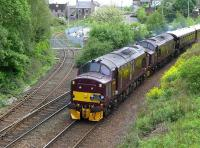 37685 and 37516 drop down past Inverkeithing South Junctionon 26 May  with <I>The Royal Scotsman</I> from Edinburgh to Keith. The Rosyth Dockyard branch diverges to the left.<br><br>[Bill Roberton&nbsp;26/05/2014]
