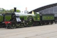 A very shiny Stirling Single, GNR No. 1 at Locomotion, Shildon, on 3rd May 2014.<br><br>[Brian Taylor&nbsp;03/05/2014]