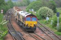 DBS 66111 approaches Inverkeithing East Junction on 28 May with empty autoballasters from Aberdeen Ferryhill to Millerhill.<br><br>[Bill Roberton&nbsp;28/05/2014]