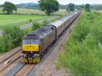 WCRC 47854 leads a Thonton - Bo'ness empty stock working into Alloa Loop on 22 June.  47804 was on the rear of the train.<br><br>[Bill Roberton&nbsp;22/06/2014]