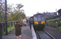 The last train prepares to depart from Coalburn, South Lanarkshire, on 2 October 1965.<br><br>[John Robin&nbsp;02/10/1965]