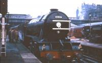Gresley V2 2-6-2 no 60836 about to leave Waverley on 5 November 1966 with the <I>Last V2 Excursion</I>. The special ran to Aberdeen via Glenfarg and Forfar, returning by way of the east coast route. <br><br>[G W Robin&nbsp;05/11/1966]