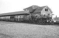 RHDR Pacific no 10, built by the Yorkshire Engine Company in 1931, waits with a train at Dungeness in 1967.<br><br>[K A Gray&nbsp;//1967]